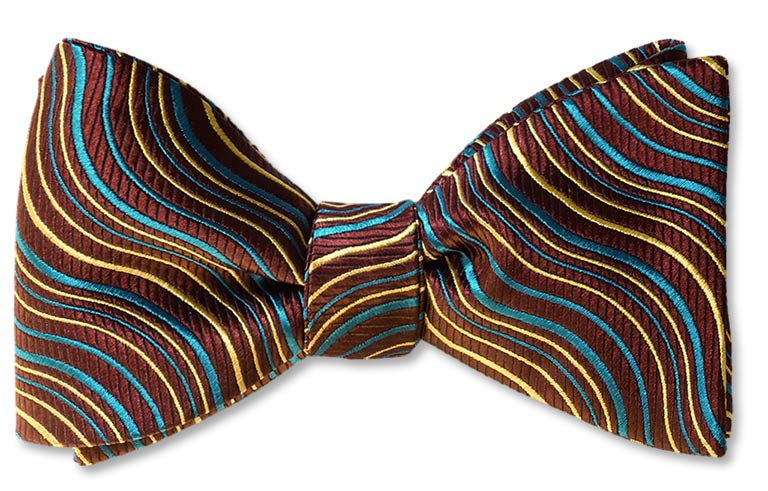 Yukon River pre-tied bow tie of teal, gold and burgundy silk