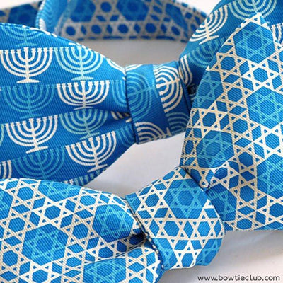 Bar Mitzvah Jewish Menorah and Star of David Bow Ties