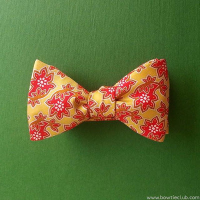 bow ties batik floral yellow silk American made