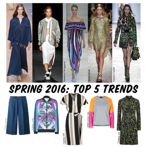spring summer 2016 trends, Chloe, Rag and Bone, Salatore Ferragamo, Sonja Rykiel,Roberto Cavalli and high street Uniqlo, Adidas, Top Shop, Jaded London