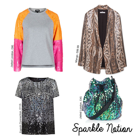 sequins spring summer 2016 trends, mango, jaded london, french connection