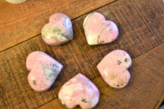 rhodochrosite carved hearts