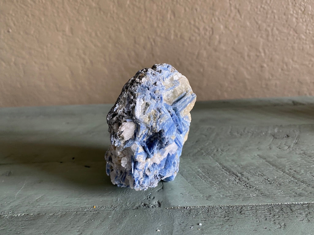 Kyanite Cluster with Clear Quartz & Mica for meditation, Third Eye chakra, manifesting; FB1414