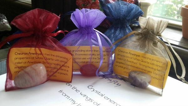 Tumbled Stones in Drawstring Pouch with info card