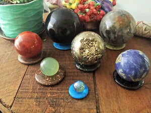 "Gemstone ""Donuts"" or Pi Stones are wonderful for use as a Sphere Stand"