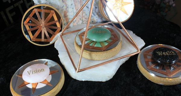 copper mirrored crystal grid bases