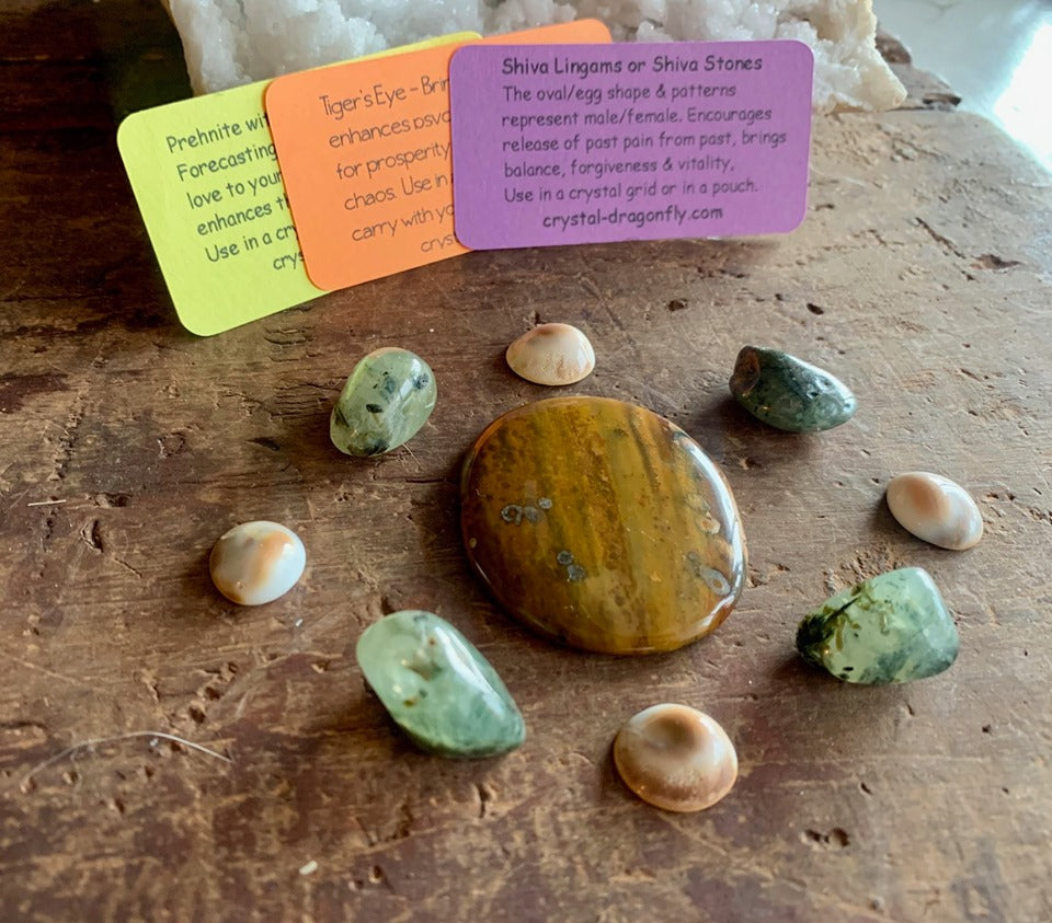 Special Crystal Grid Collection - Tiger Eye, Shiva Eye, Prehnite and Sacred Geometry: FB2140