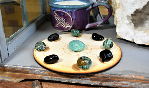 Protection, Grounding, Mental Clarity, & Spirit Healing Crystal Grid; FB1452
