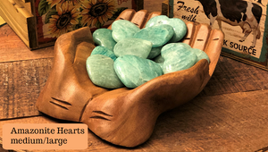 Amazonite Hearts from Madagascar for money, luck, love, and calm; FB1032