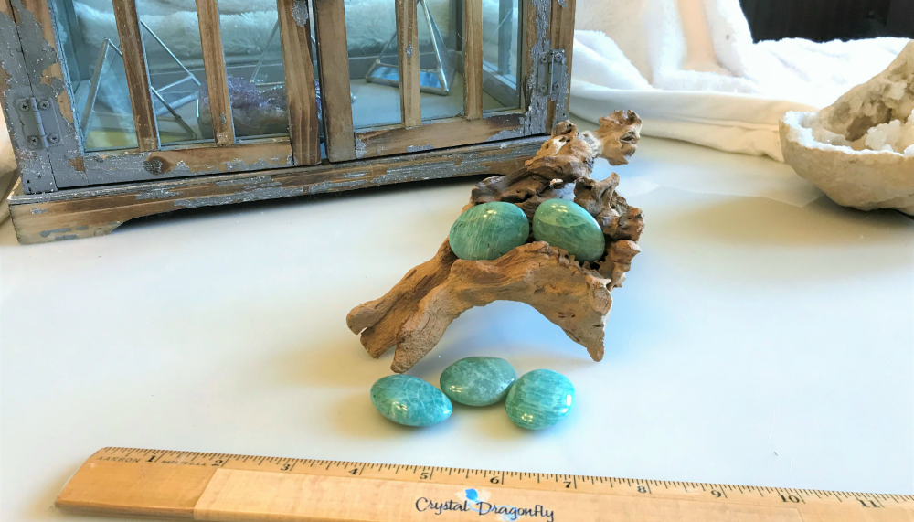 Amazonite Oval Pocket Stones, AA quality; FB1410