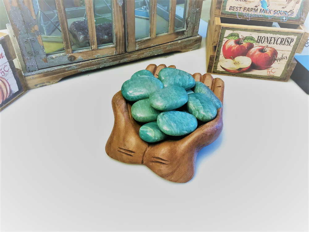 Amazonite Hand Pebbles for luck, money, love and calm; FB1350