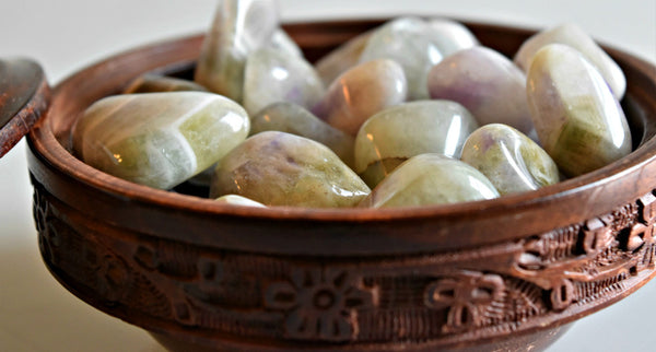 Tumbled Amegreen for self-reliance, restful sleep and intuitive dreams; FB1164