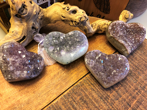 Amethyst Cluster Carved Hearts for tranquility, calm and serenity; FB1905