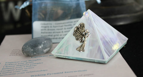 Manifesting / Wishing Art Glass Pyramids with Crystal - Smaller, FB1114
