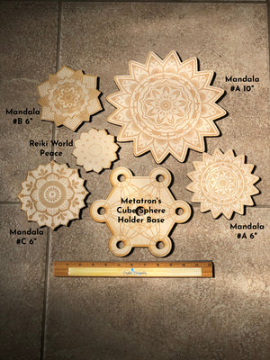 Wood Cut Out Patterns Crystal Grid Bases; FB1502