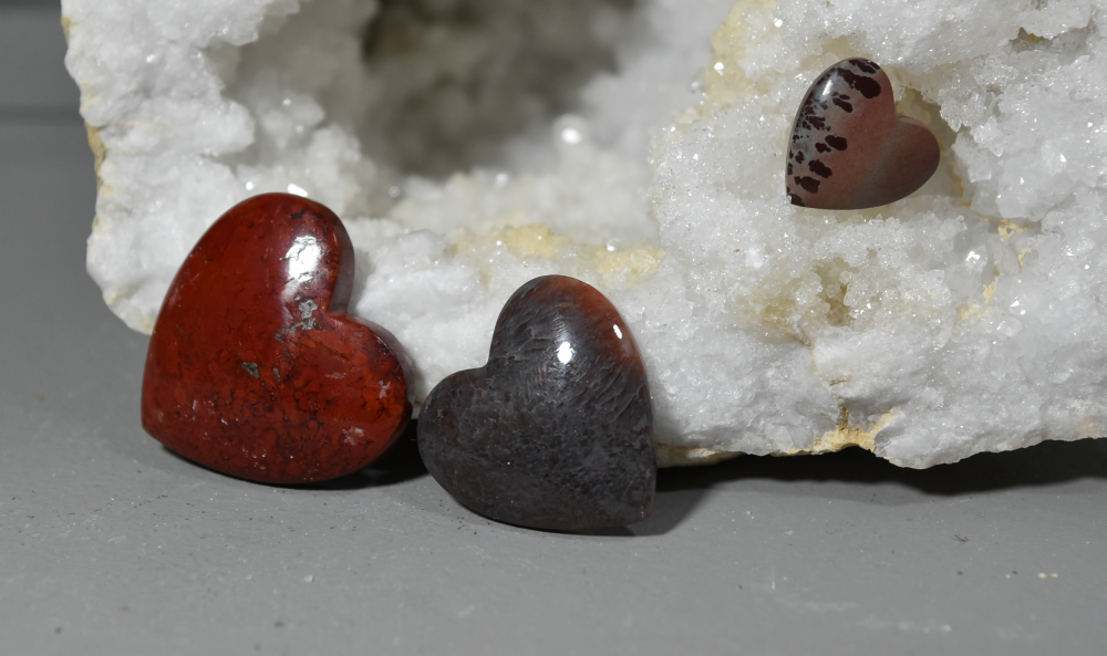 Unusual Gemstone Heart Cabochons; FB1428