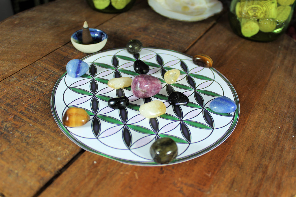 Banish Anxiety and Worries Crystal Grid with Flower of Life layout