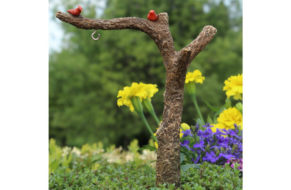 Fairy Garden Accessories   Miniature Tree Branch Post With Red Birds; FB9009