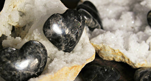 Black Moonstone Hearts from Madagascar; FB1433