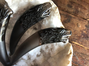 Black Obsidian Wolf Fang Totem / Spirit Carving; FB2278