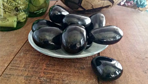 Black Tourmaline Hand Pebbles for joy, protection, courage and serenity; FB2529