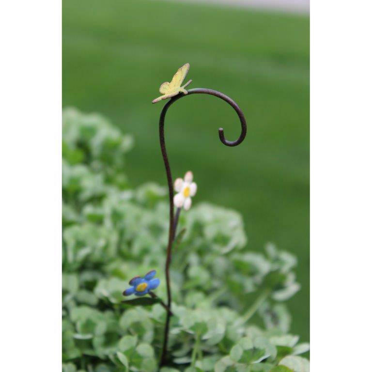 Fairy Garden Accessories - Mini Butterfly & Flowers Shepherd's Hook - FB9005