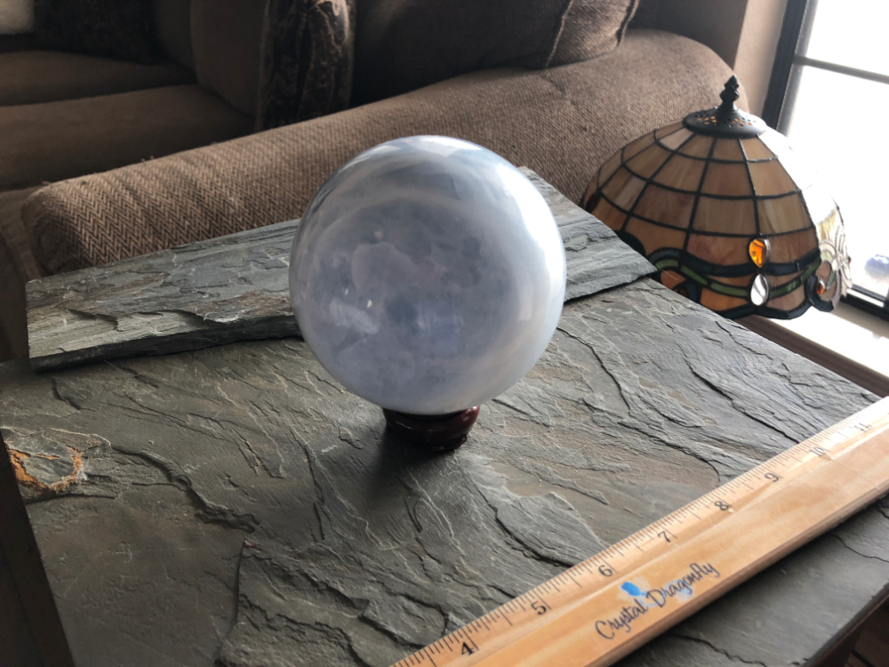 Blue Calcite Large Sphere from Madagascar, with Wood Stand; FB1908