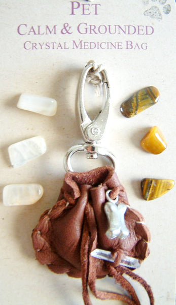 Crystal Medicine Bag - Pocket Size - for Pets - Calm and Grounded