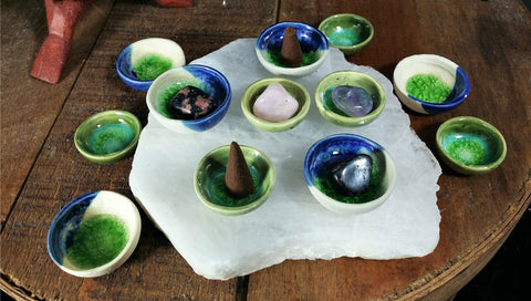 Mini Ceramic Glazed Incense Cone or Tumbled Stone bowls
