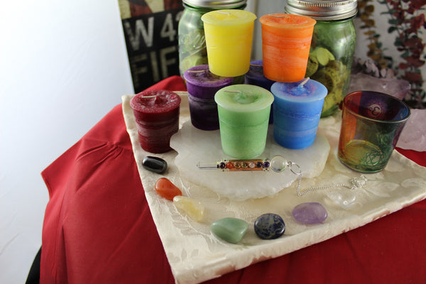 Chakra Crystal and Reiki Charged Candle Collection
