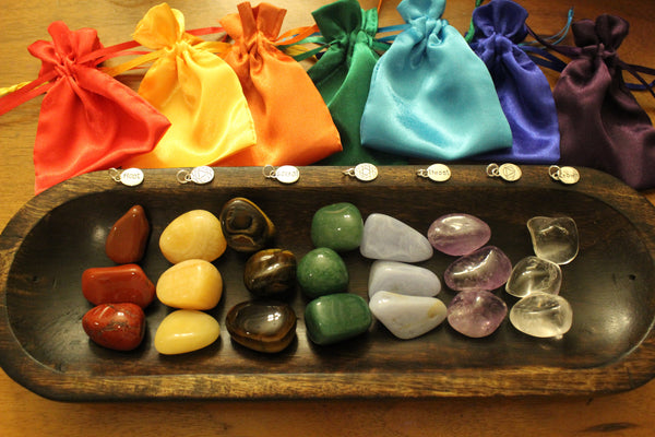 21 Crystal Chakra Collection with Wood Trough; FB1031