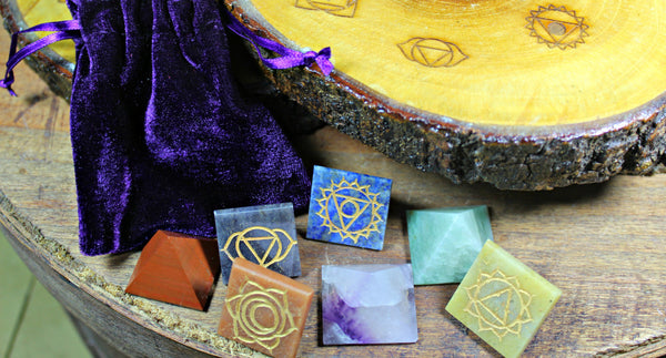 Chakra Wooden Grid Base & Chakra Pyramids with Engraved Symbols and Pouch; FB1796