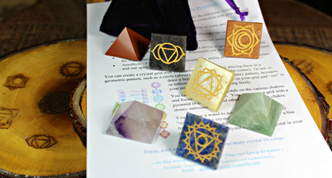 Chakra Wooden Grid Base & Chakra Pyramids with Engraved Symbols and Pouch