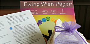Flying Prayer and Flying Wish Paper plus tumbled stone in drawstring pouch