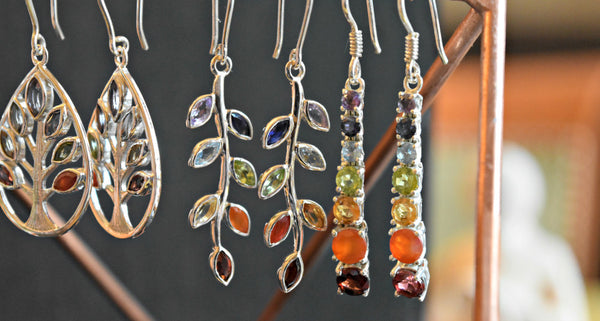 Chakra Gemstone Sterling Silver Handcrafted Earrings; FB1050