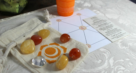 Sacral Chakra Balancing Collection with Reiki Candle, Crystals, Grid Layout & Affirmations