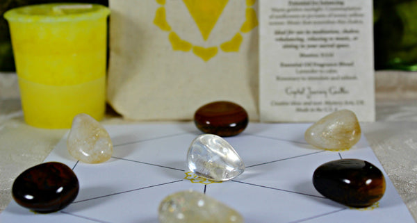 Solar Plexus Chakra Balancing Collection with Reiki Candle, Crystals, Grid Layout & Affirmations