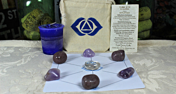 Third Eye Balancing Collection with Reiki Candle, Crystals, Grid Layout & Affirmations