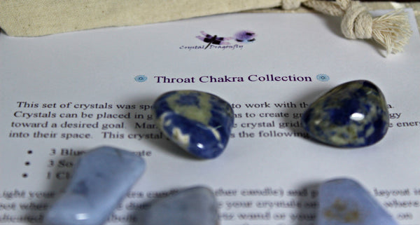 Throat Chakra Balancing Collection with Reiki Candle, Crystals, Grid Layout & Affirmations