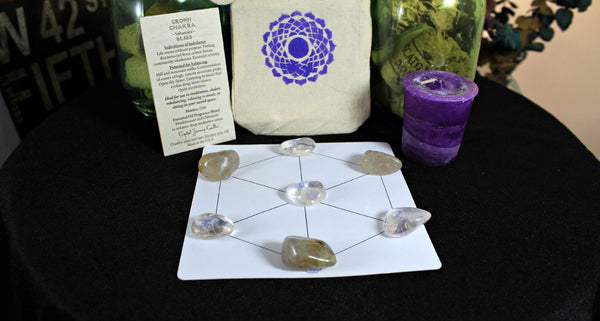 Crown Chakra Balancing Collection with Reiki Candle, Crystals, Grid Layout & Affirmations