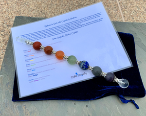 Chakra Gemstone Large Wand with Point, Velvet Pouch and Chakra Info Chart; FB2096