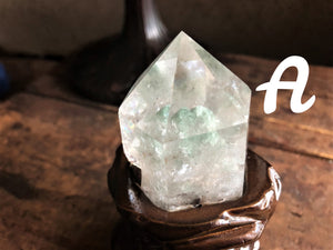 Clear Quartz Polished Chlorite Included Points, Water Clear, Custom Carved Stand; FB2280