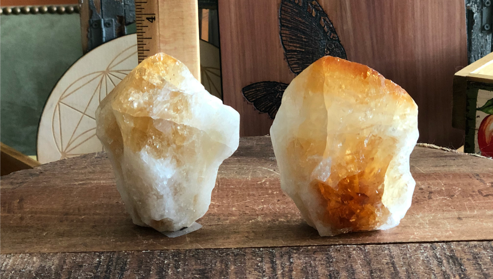 Citrine Standing Natural Points with Polished Tops from Brazil; FB1695