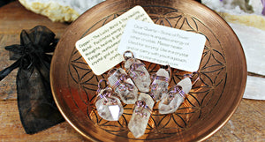 Clear Quartz and Antiqued Copper Pendants