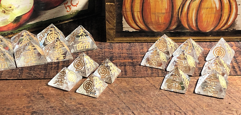 Clear Quartz Pyramid with Engraved Reiki Symbols; FB1856