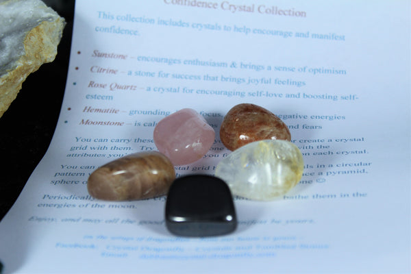 Confidence Crystal Collection with Velvet Pouch - Medicine Bag