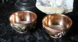 Copper Bowl, Assorted emblems, Altar, Ritual, Incense or Blessing bowls; FB1580