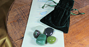 Crystal Bonding Collection with Velvet Pouch - Green - Medicine Bag