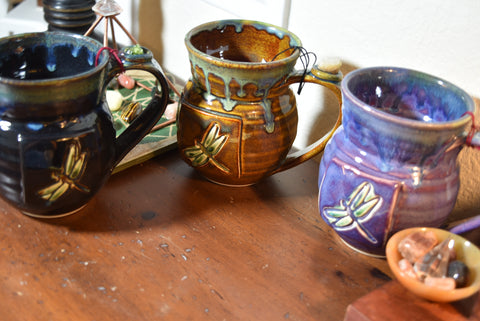 Reiki Charged Healing Pottery Mugs with Dragonfly and semi-precious stones; FB1375