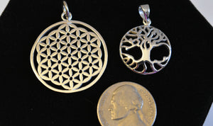 Sterling Silver Tree of Life and Flower of Life Charms/ Pendants: FB1229